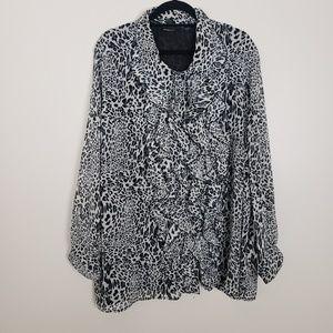 Avenue animal print ruffle blouse G7